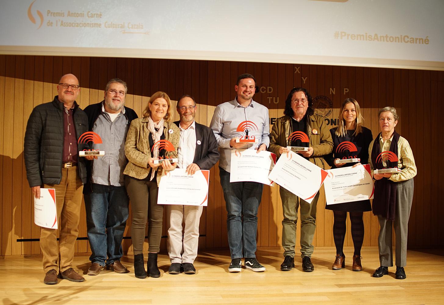 Guanyadors de la III edició dels Premis Antoni Carné. Foto: Àngels Mercadé.
